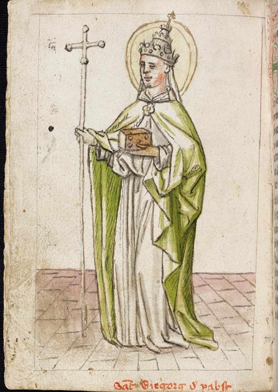 Gregorius auf dem Stein (D 1 Bl. 96v)